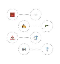 Flat icons cement blender pipeline valve vector