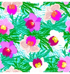 Floral tropical pattern with orchid flowers vector image