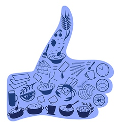 Food like social button blue vector image vector image