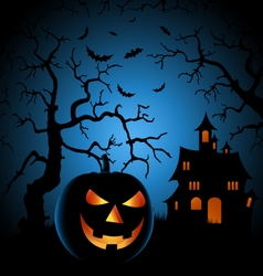 Halloween night poster with haunted castle and vector image