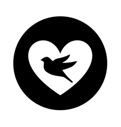 Heart romantic with bird vector