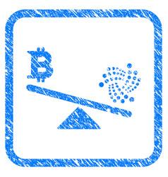 Iota bitcoin balance scale framed stamp vector