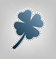 Leaf clover sign blue icon with outline vector