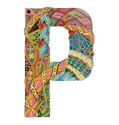 Letter p zentangle decorative object vector