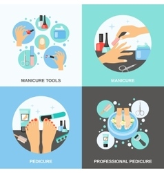 Manicure pedicure 4 flat icons square vector