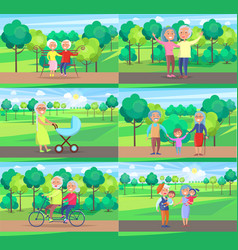 Mature people together grandparents sit ride walk vector