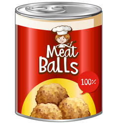 meat balls in aluminum can vector image