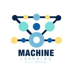 Modern logo of machine learning computer training vector