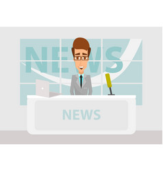 News anchorman in breaking news and tv screen vector