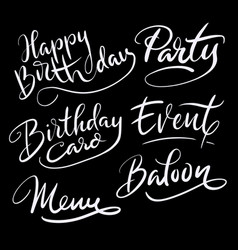 Party and birthday hand written typography vector