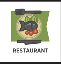 Restaurant dish banner fish with tomatoes and vector