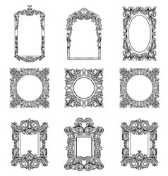 Rich imperial baroque rococo frames set french vector