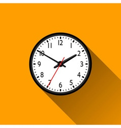 School Clock Flat Icon with Long Shadow vector image vector image