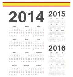 Set of Spanish 2014 2015 2016 calendars vector image