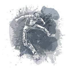 skateboarder jumping on paint spot with splash in vector image vector image