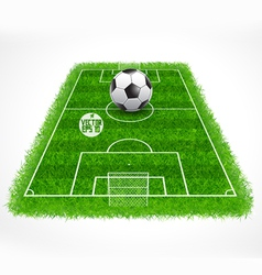 Soccer field perspective view realistic grass vector image vector image