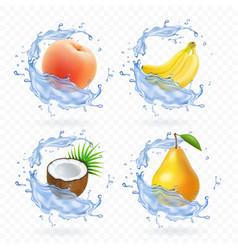 Sweet fruit banana coconut peach pear vector