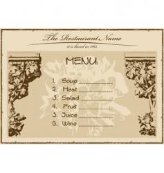 vintage menu restaurant vector image