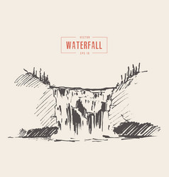 Vintage of beautiful waterfall drawn vector