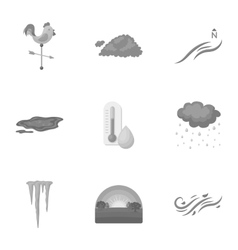 Weather set icons in monochrome style big vector