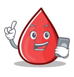 With phone blood drop cartoon mascot character vector