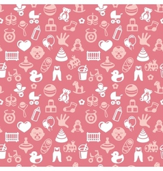 seamless pattern with bright kid icons vector image
