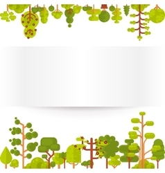 Green trees and bushes on a white vector