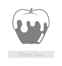 Honey on apple Rosh Hashanah icon Shana tova vector image