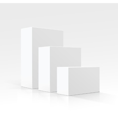 Set of blank white carton boxes different sizes vector