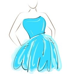 Sketch girl blue dress vector