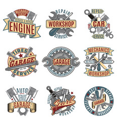 Colored auto repair service logotypes set vector