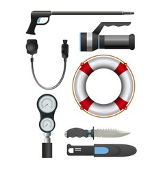 Set of diving equipment vector