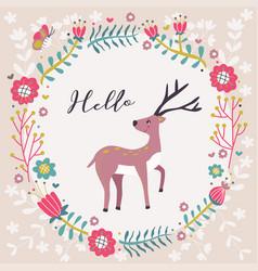 Hello greeting deer flower card vector