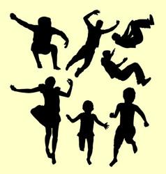 Children training sport silhouette vector