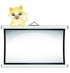 A yellow cat leaning over the empty bulletin board vector