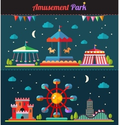 Set of flat design composition with amusement park vector