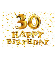 30th birthday celebration with gold balloons and vector