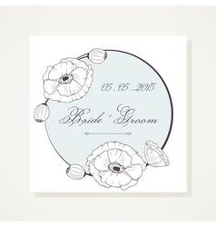 Event frame with outline poppies vector