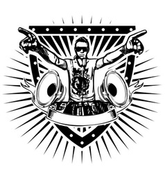 Disc jockey shield vector
