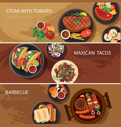 Street food web banner steak tacos bbq vector