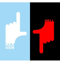 Hell and heavene direction signs gesture hands up vector