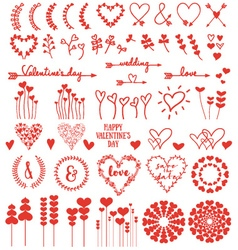Heart flowers set vector