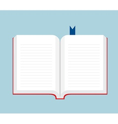 Blank book open flat design vector