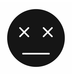 Dead emoticon icon simple style vector