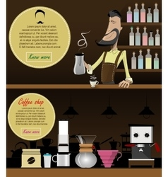 Barista making coffee vector