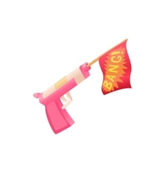 Revolver shooting out red flag icon vector
