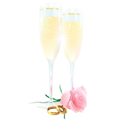 Two glasses of champagne roses and rings vector