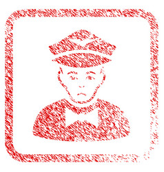 Airline steward framed stamp vector