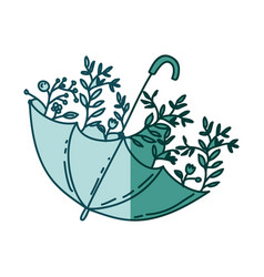 Aquamarine silhouette of umbrella with plants vector