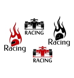 Car racing and motorsport icons vector